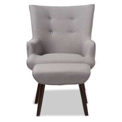 Alden Light Grey Fabric Lounge Chair and Ottoman Set