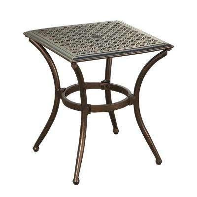 Bali Bronze Metal Outdoor Side Table With Feet Glides