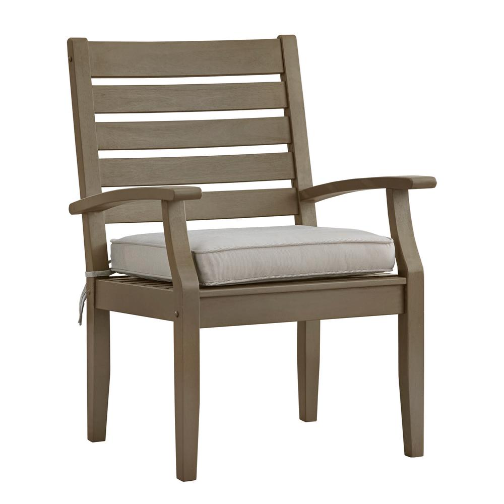 HomeSullivan Verdon Gorge Gray Oiled Wood Outdoor Dining Arm Chair With  Beige Cushion (2