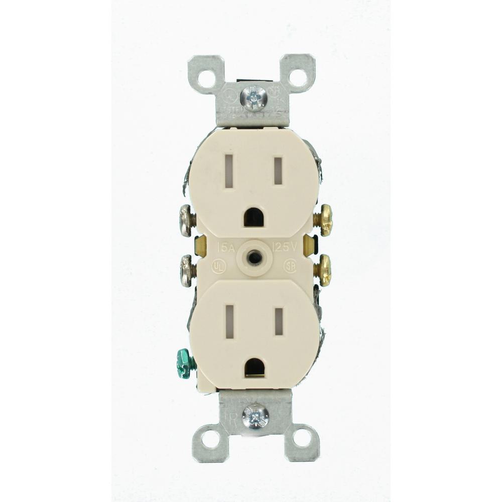 Leviton 15 Amp Tamper-Resistant Duplex Outlet, Light