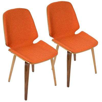 Serena Walnut and Orange Accent Chair (Set of 2)