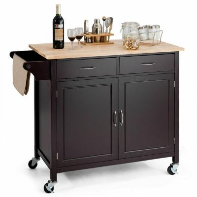 Brown Modern Rolling Kitchen Cart Island Wood Top Storage Trolley Cabinet Utility