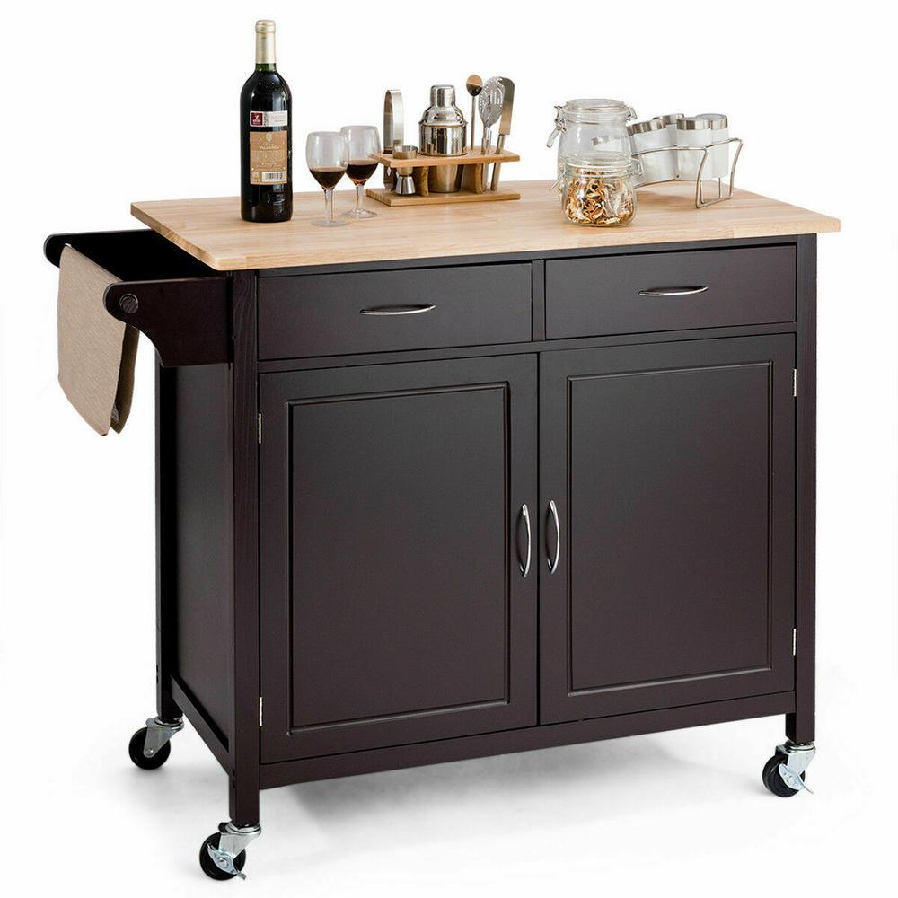 Brown Modern Rolling Kitchen Cart Island Wood Top Storage Trolley Cabinet Utility