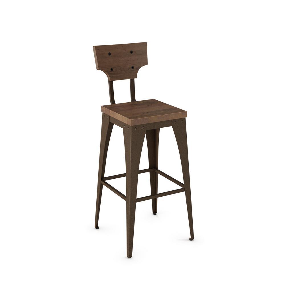 Hammered Brown Metal Wood Barstool