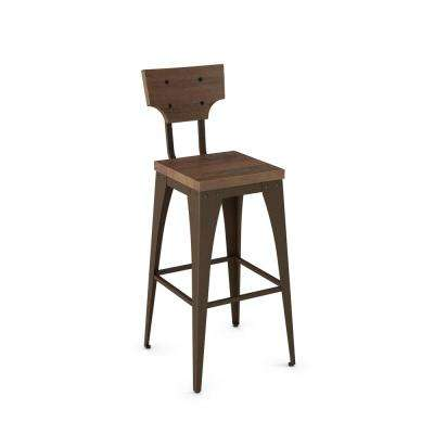 Station 30 in. Hammered Brown Metal Brown Wood Barstool