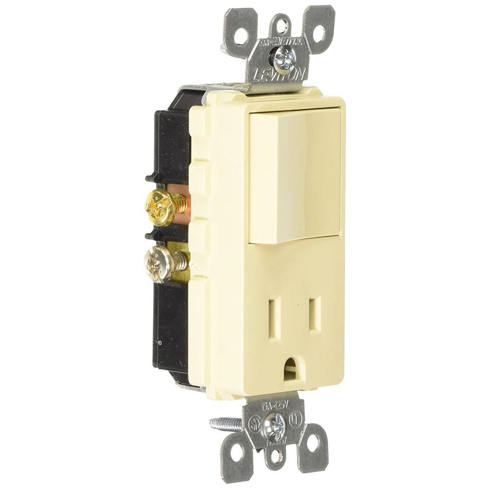 Leviton 1755 W Light Switch Decora Three Rocker Combo Cooper Wiring Quiet Toggle Single Pole Lighted 15 A 120 V Ivory Amp Commercial Grade Combination And Receptacle
