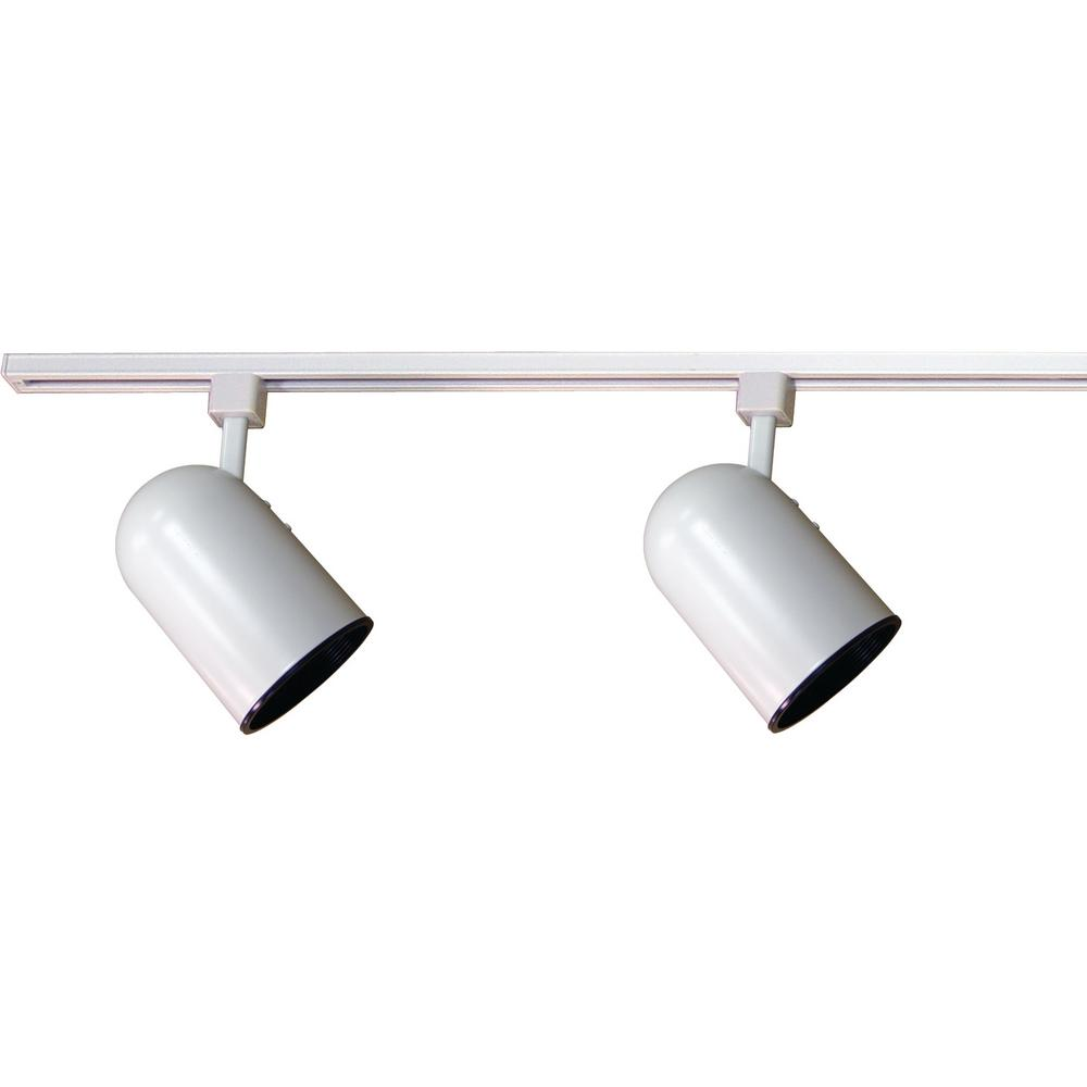 2 Ft Light Indoor White Track Lighting Kit With Round Back Cylinder Heads