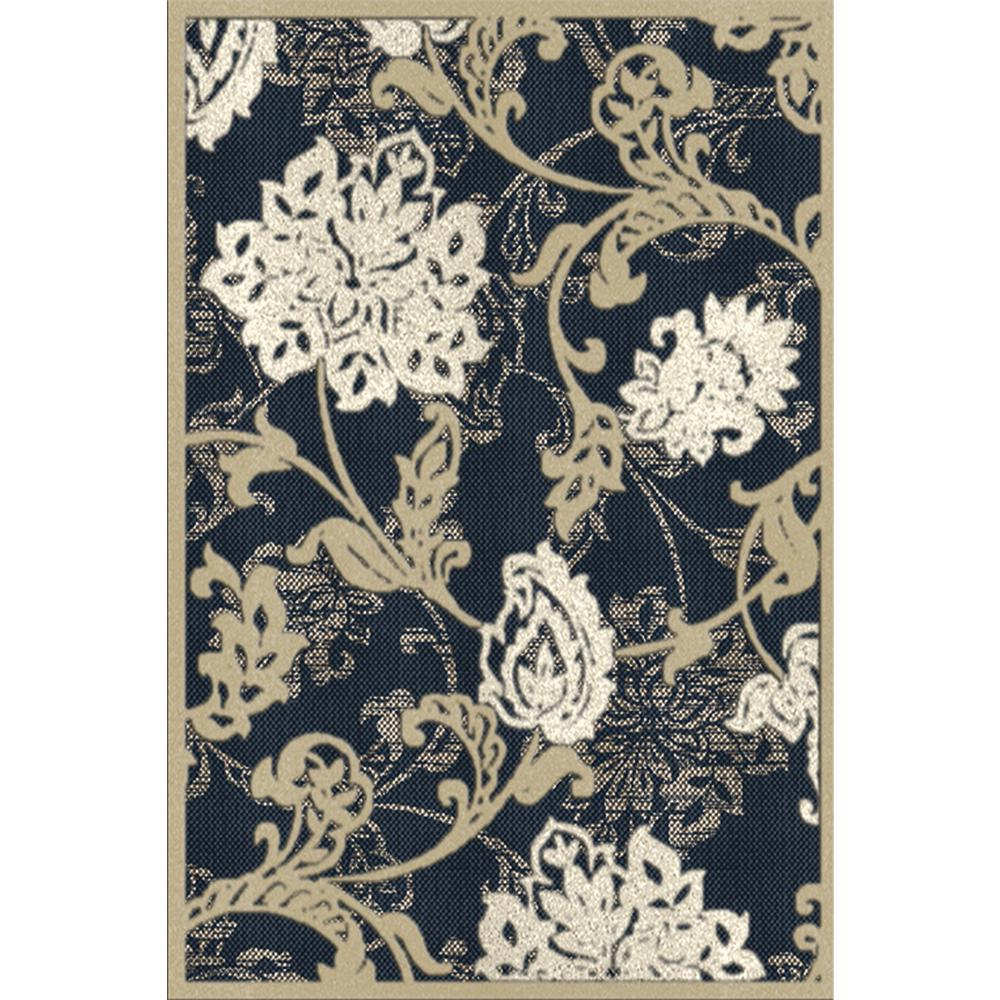 Hampton Bay Structure Floral Blue 5 Ft X 7 Ft Indoor Outdoor Area