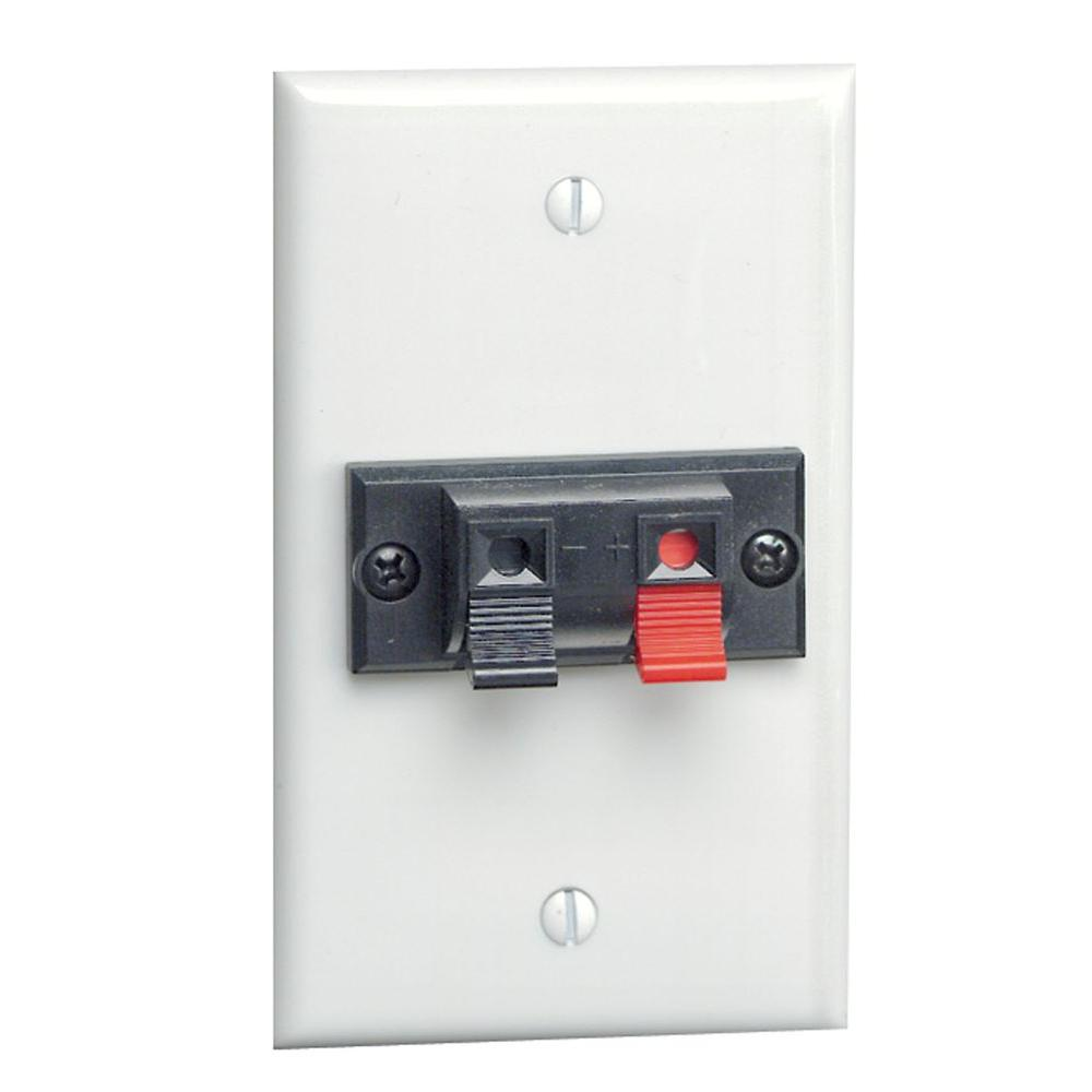 1 Spring Clip Audio/Video Standard Wall Plate - White