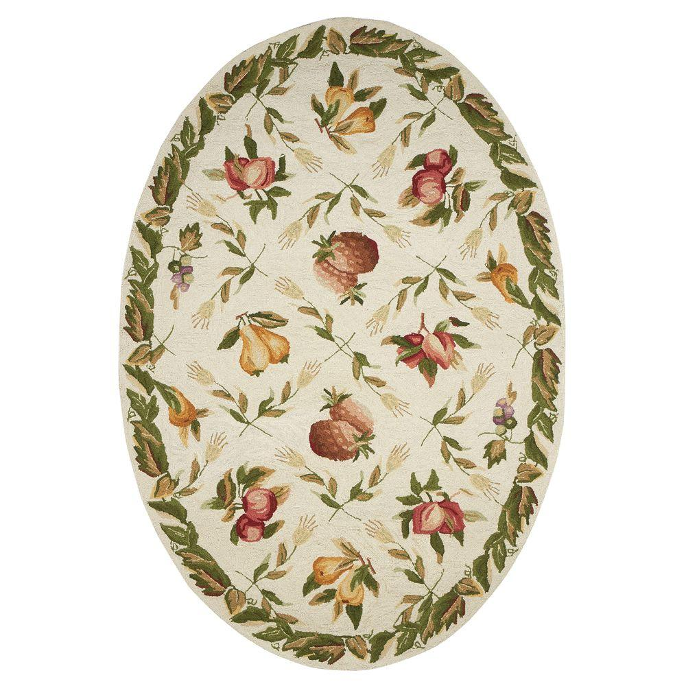 Home Decorators Collection Fruit Garden Ivory 4 ft. 6 in. x 6 ft. 6 in. Oval Area Rug