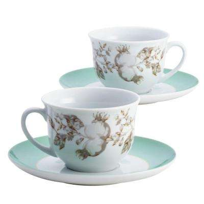 Dinnerware Fruitful Nectar Porcelain Teacup and Saucer Set with Print