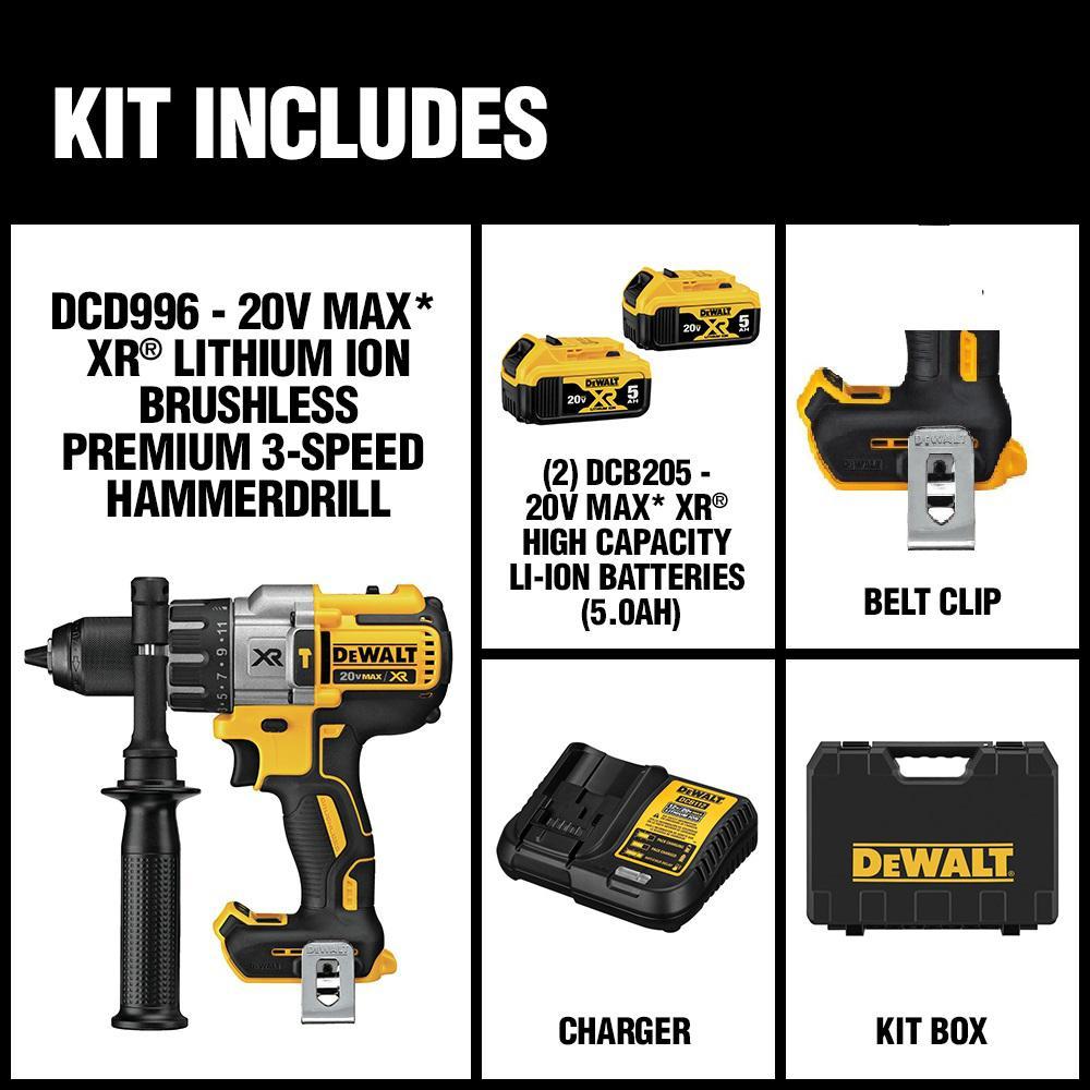 DEWALT 20V MAX XR Li-Ion Brushless 3-Speed 1//2 in Hammer Drill Kit DCD996P2 new