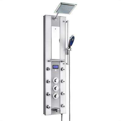 51 in. 8-Jet Aluminum Shower Panel System with Rainfall Shower Head, Handshower Wand, LED Display, Tub Spout and Mirror