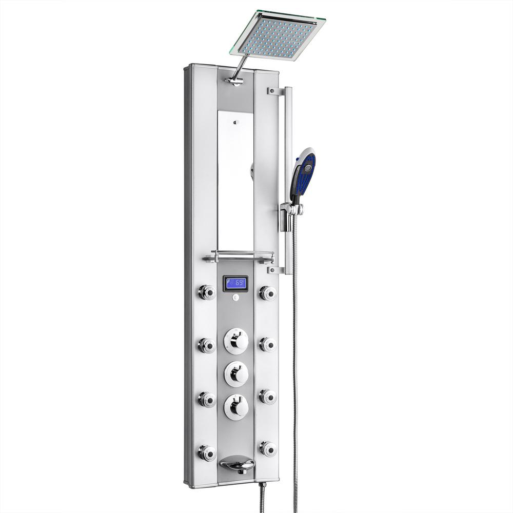 AKDY 51 in. 8-Jet Aluminum Shower Panel System with Rainfall Shower Head, Handshower Wand, LED Display, Tub Spout and Mirror
