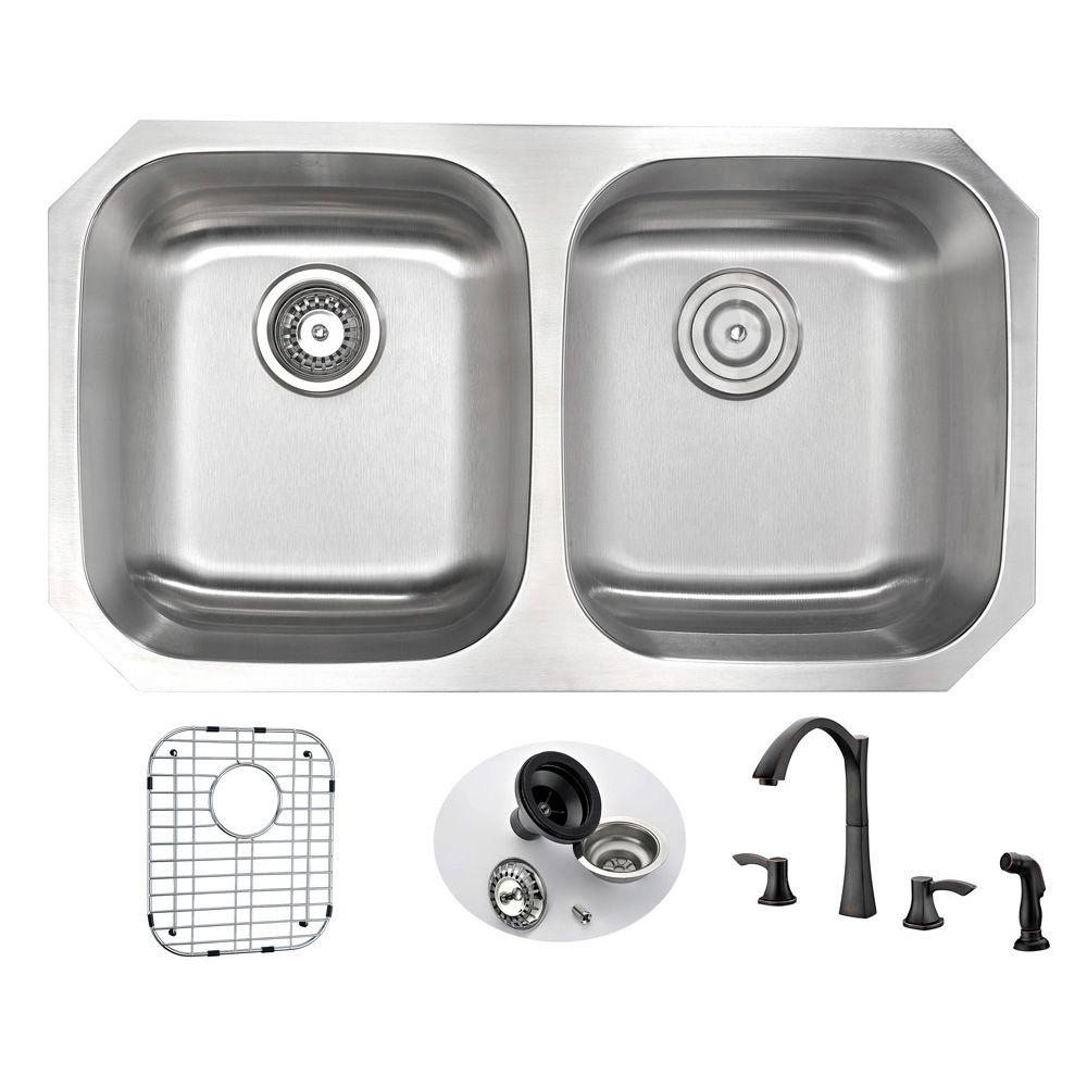 Anzzi Moore Undermount Stainless Steel 32 In Double Bowl Kitchen Sink And Faucet Set With