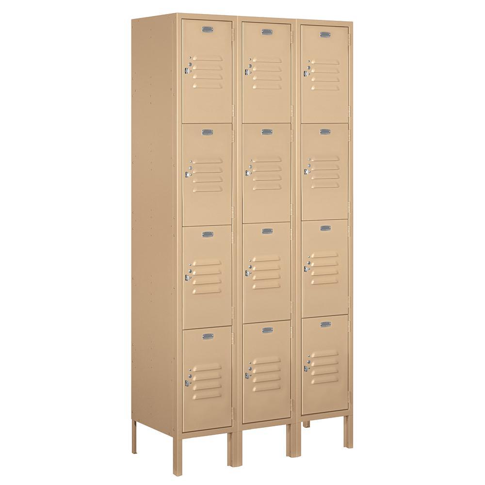 64000 Series 36 in. W x 78 in. H x 15 in. D 4-Tier Metal Locker Assembled in Tan