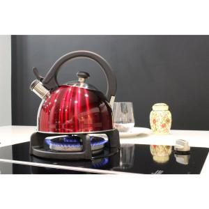 Click here to buy Magefesa Sabal 2 Qt. Stainless Steel Stovetop Tea Kettle with Whistle in Red by Magefesa.
