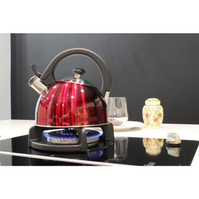 Sabal 2 Qt. Stainless Steel Stovetop Tea Kettle with Whistle in Red