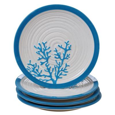 Natural Coast 4-Piece Country/Cottage Multi-Colored Ceramic 11 in. Dinner Plate Set (Service for 4)