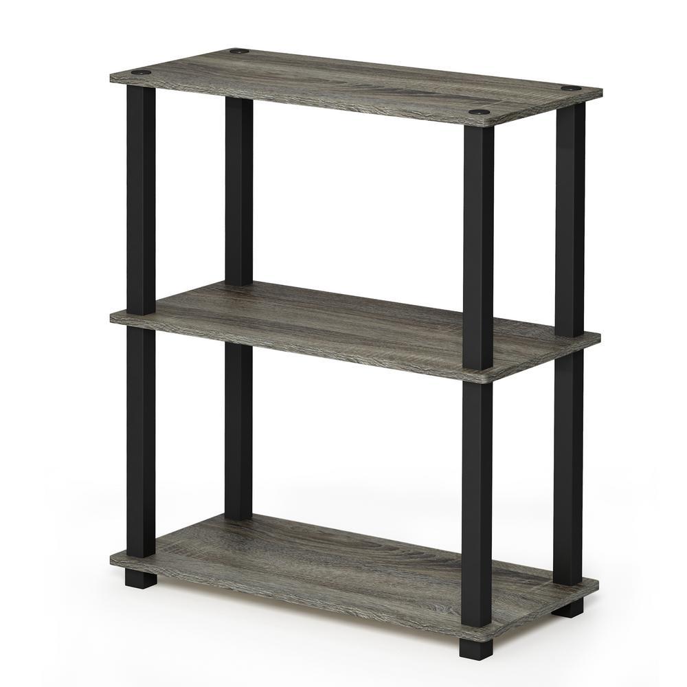 Turn-S-Tube French Oak Grey/Black 3-Shelf Multipurpose Display Rack