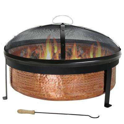 30 in. x 12 in. Round Hammered Copper Wood Burning Fire Pit with Spark Screen