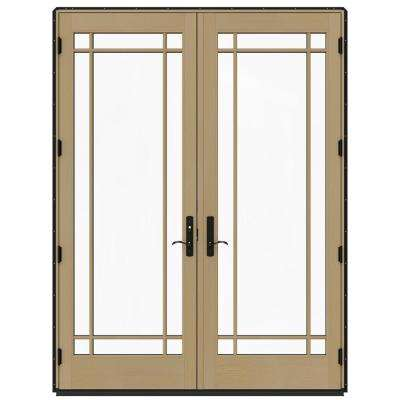 72 in. x 96 in. W-4500 Black Clad Wood Right-Hand 9 Lite French Patio Door w/Unfinished Interior