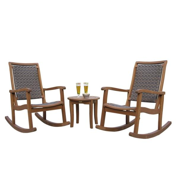 3-Piece Brown Wicker and Eucalyptus Outdoor Rocking Chair Set with Round Accent Table