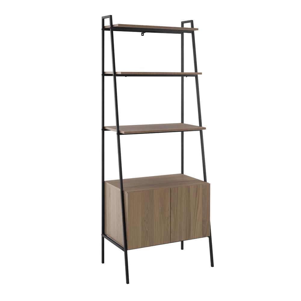 72 in. Mocha Metal and Wood Ladder Storage