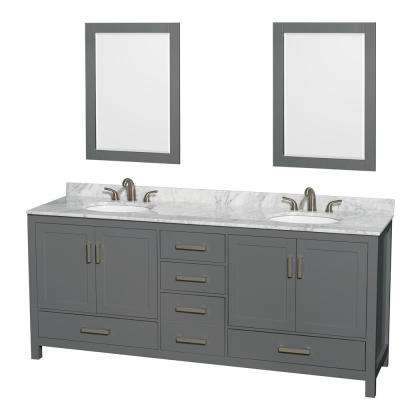 Sheffield 80 in. W x 22 in. D Vanity in Dark Gray with Marble Vanity Top in White Carrara with White Basins and Mirrors