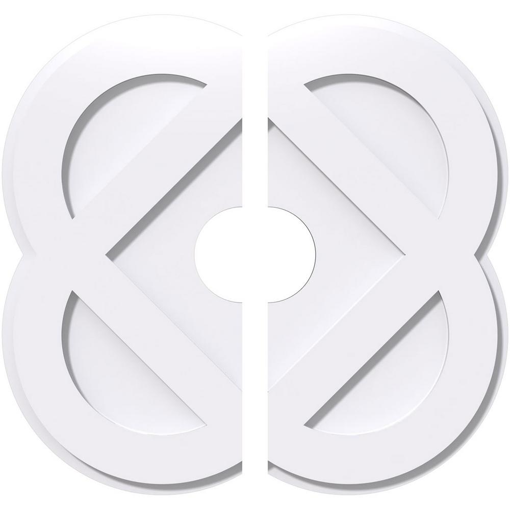 Ekena Millwork 1 in. P X 8 in. C X 20 in. OD X 4 in. ID Charlotte Architectural Grade PVC Contemporary Ceiling Medallion, Two Piece
