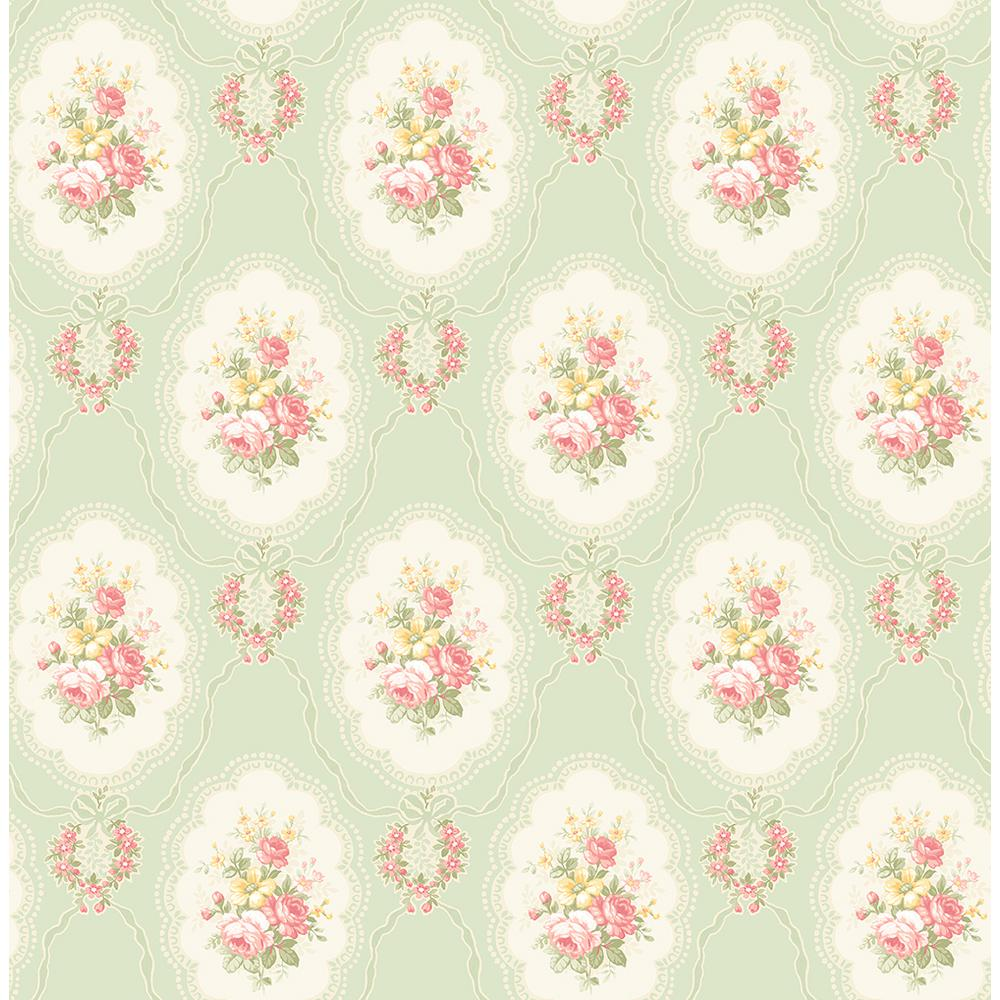 Fine Decor 56 4 Sq Ft Elda Green Cameo Wallpaper 2900 23227
