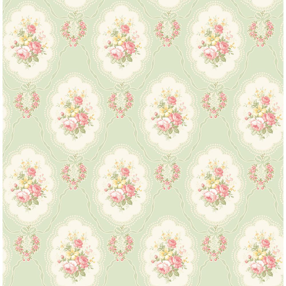 8 in. x 10 in. Elda Green Cameo Wallpaper Sample 2900-23227SAM