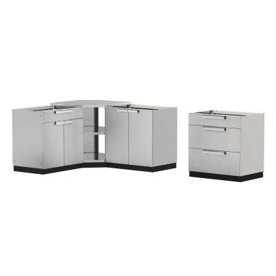 Stainless Steel Classic 4-Piece 110x36x76 in. Outdoor Kitchen Cabinet Set without Counter Tops