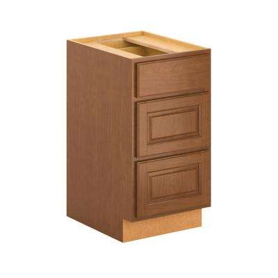 Madison Assembled 18x34.5x24 in. 3-Drawer Base Cabinet with soft close in Cognac