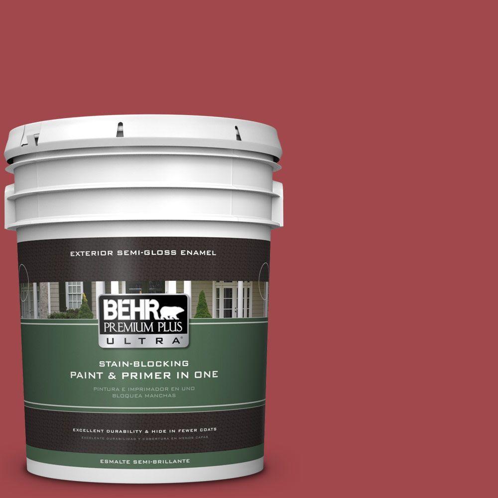 BEHR Premium Plus Ultra 5-gal. #ICC-107 Crimson Semi-Gloss Enamel Exterior Paint