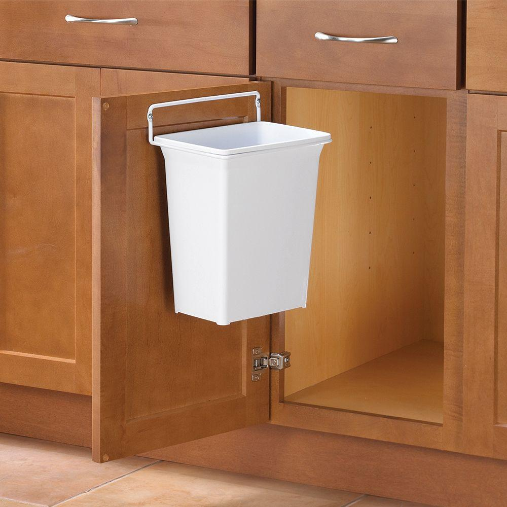 Knape & Vogt 13 in. H x 10 in. W x 7 in. D Plastic In-Cabinet Door Mount  Trash Can in White
