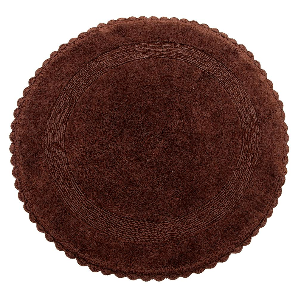 Crochet Lace 36 in. Round Cotton Reversible Chocolate Hand Knitted Crochet