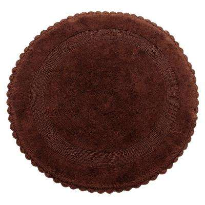 Crochet Lace 36 in. Round Cotton Reversible Chocolate Hand Knitted Crochet Lace Border Machine Washable Bath Rug