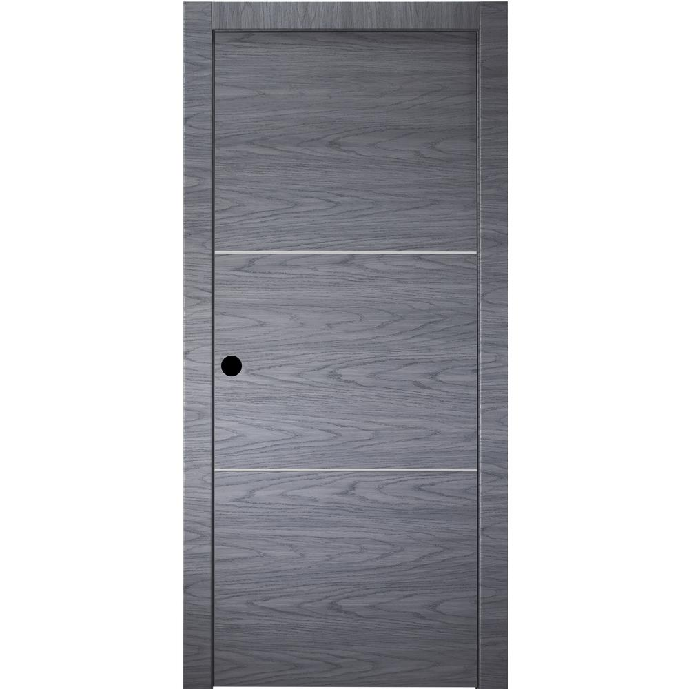 various colors 98046 65e51 Belldinni 32 in. x 80 in.Luna 2H Blue Shadow Finished Aluminum Strips  Right-Hand Solid Core Composite Single Prehung Interior Door