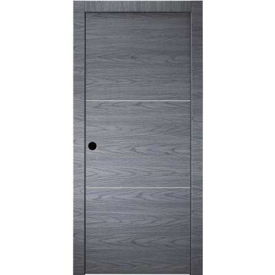 36 in. x 80 in. Luna 2H Blue Shadow Finished Aluminum Strips Left-Hand Solid Core Composite Single Prehung Interior Door