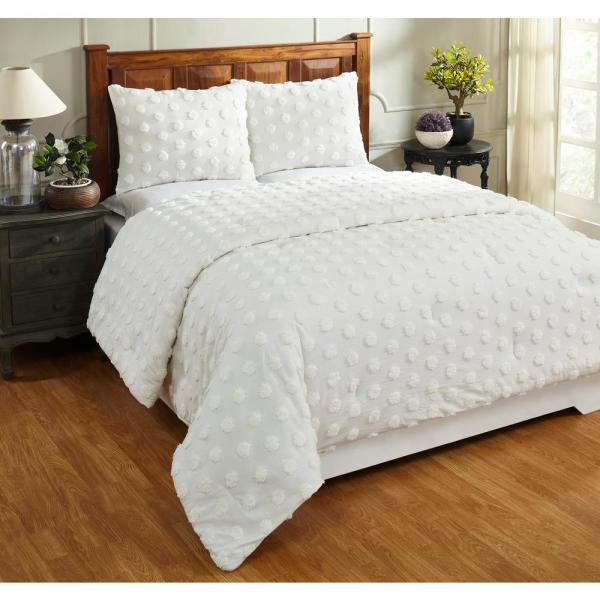 Better Trends Athenia Collection In Polka Dot Design Ivory Full Queen 100 Cotton Tufted Chenille Comforter Quatqfiv The Home Depot