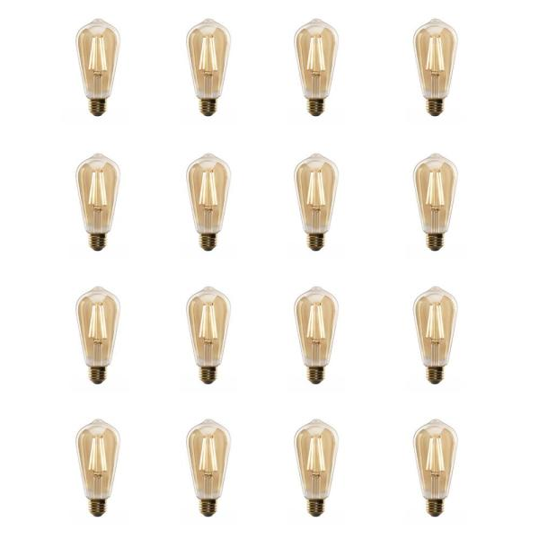 60-Watt Equivalent ST19 Dimmable LED Amber Glass Vintage Edison Light Bulb With Straight Filament Warm White (16-Pack)