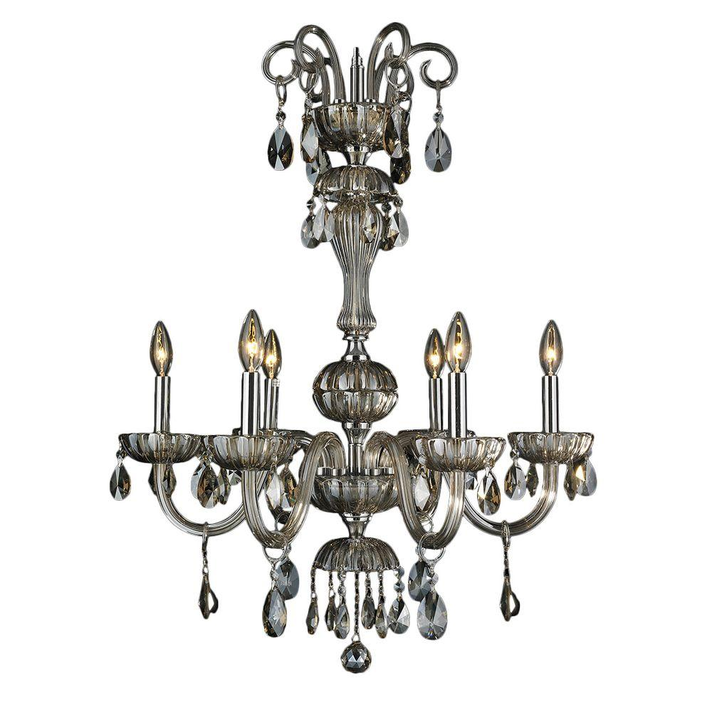 Carnivale Collection 6-Light Polished Chrome and Golden Teak Crystal Chandelier