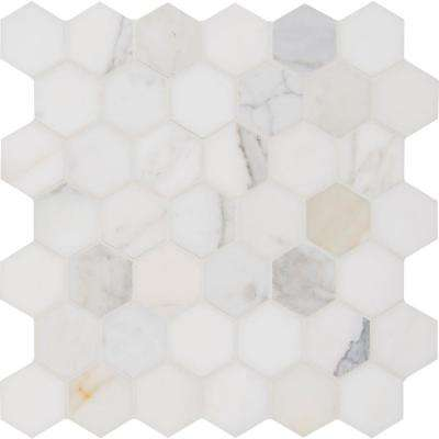 Calacatta Gold Hexagon 12 in. x 12 in. x 10 mm Polished Marble Mesh-Mounted Mosaic Tile