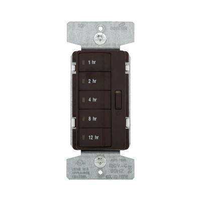 1800-Watt 15 Amp 5-Button Hour Timer with Off Single-Pole, Brown