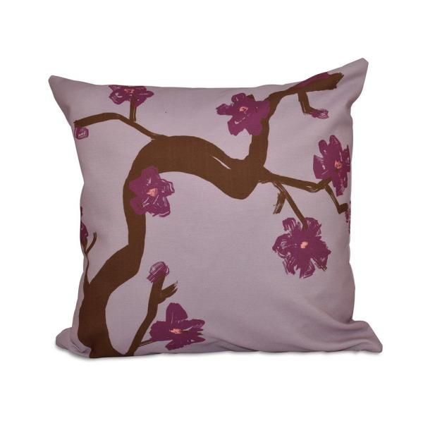 Floral Branch Polyester Throw Pillow in Purple