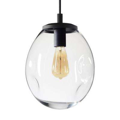 Organic Contemporary 9 in. W x 12 in. H 1-Light Black Hand Blown Glass Pendant Light with Clear Glass Shade