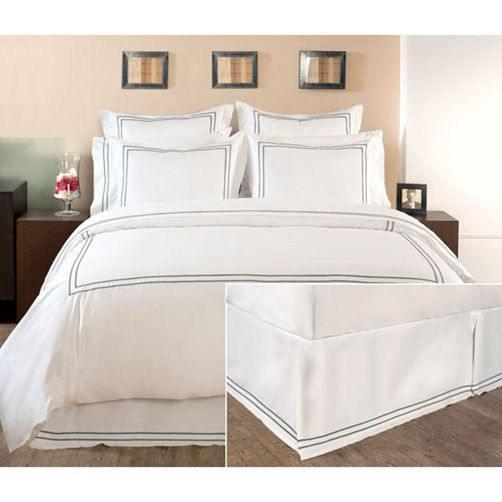 Home Decorators Collection Embroidered Grant Gray Twin Box-Pleat Bedskirt