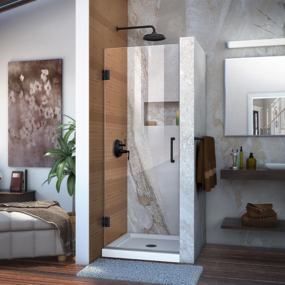 Unidoor 29 in. x 72 in. Frameless Hinged Pivot Shower Door in Satin Black with Handle
