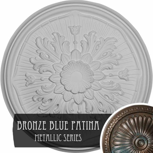 Ekena Millwork 15 3 4 X 5 8 Lupton Urethane Ceiling Medallion Fits Canopies Upto 1 1 8 Hand Painted Bronze Blue Patina Cm16lubbs The Home Depot